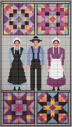 0 point de croix amish ladies - cross stitch