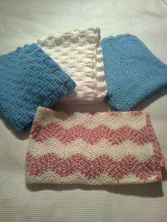 ripple, basketweave and V stitch blankets