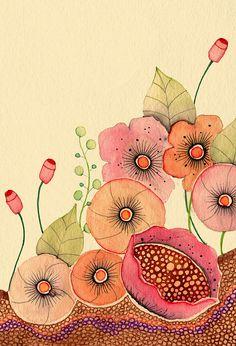 The Garden (Detail) by Colleen Parker Watercolor and ink Watercolor And Ink, Watercolor Flowers, Watercolor Paintings, Watercolors, Art And Illustration, Art Floral, Whimsical Art, Botanical Art, Flower Art