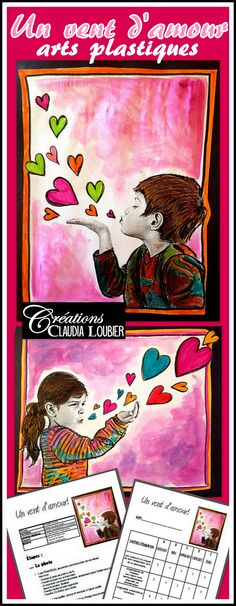 Art Activity and Lesson Plan For Kids: Wind of Love – Mother's and Father's Day - Kunstunterricht Mother's Day Activities, Valentines Day Activities, Valentines Art For Kids, Happy Valentines Day, Grade 1 Art, Grade 3, Third Grade, Crayon Crafts, Heart Crafts