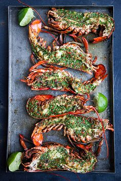 Grilled Lobster with Cilantro Chili Butter #food recipe