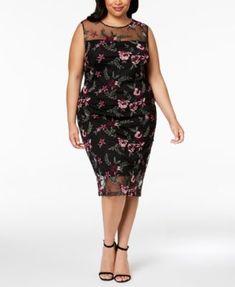 080d42b25088 Calvin Klein Plus Size Floral-Embroidered Illusion Dress   Reviews - Dresses  - Women - Macy s