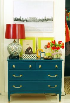 """""""the little green notebook"""" vintage modern style. Love the peacock blue dresser. she (jenny) painted it and replaced hardware. Notice the old photo of the Arizona temple on the wall above the dresser. Diy House Projects, Cool Diy Projects, Painted Furniture, Diy Furniture, Painted Dressers, Painted Chest, Bedroom Furniture, Modern Furniture, Little Green Notebook"""