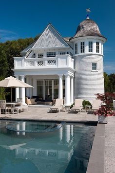 POOL HOUSE – Start collecting design ideas for the future pool house. This one can work. The Enchanted Home: Summer white