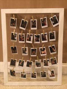 ⚜️DIY Instax Mini Photo Frame Idea Display your Instax Mini Photos in a cute way Wedding Flowers - T Polaroid Pictures Display, Polaroid Display, Polaroid Foto, Polaroid Wall, Mini Polaroid, Polaroids, Room Ideas Bedroom, Bedroom Decor, Lights Bedroom