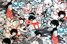 BACK IN STOCK Japanese Anime Momotaro in Red by poppyseedfabrics