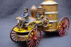 Antique Pressed Steel Kingsbury Wilkins Wind-Up Toy Fire Pumper Truck ca.1899