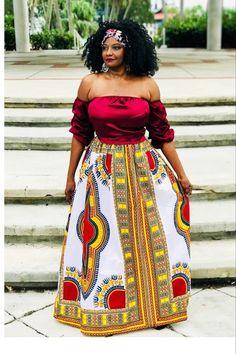 19316164ce BAKI African Print Dashiki Maxi Skirt