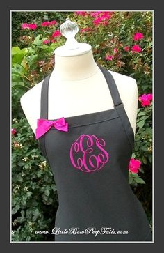 Flannel Grey and Fuschia Monogrammed Apron - Personalized Chefs Gift Idea Gray Hot Pink Fuschia Fall Autumn Womens Wedding Bridal