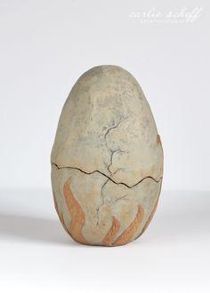 "Medium: Paper Clay // Display: Free-standing // Dinosaur Size: 3"" (width) x 5"" (height) x 4"" (depth) // Egg Size:  4"" (width) x 7"" (height) x 4"" (depth)"