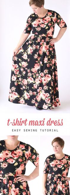 how to make a pretty maxi dress using a free classic tee shirt pattern - easy sewing tutorial