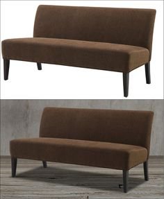 This chenille chocolate brown armless mini-sofa or settee in espresso finish will surely add an earthy yet modern touch to your living room! With this piece of furniture, you will surely create a warm and cozy haven. Mid century modern with contemporary style.