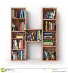 Letter H. Alphabet In The Form Of Shelves With Books Isolated On Stock Illustration - Illustration of number, interior: 105539383 Wall Shelves Design, Bookshelf Design, Book Rack Design, Lcd Panel Design, Diy Furniture, Furniture Design, Frame Wall Collage, Creative Kids Rooms, Creative Bookshelves