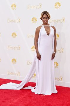 Pin for Later: The 12 Sexiest Styles Straight From the Emmys Red Carpet Laverne Cox Laverne Cox stood out from the pack in a crisp Marc Bouwer gown, complete with a plunging V neck.
