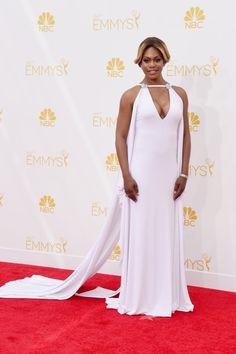 Pin for Later: Voilà ce Que Les Stars Ont Porté aux Emmy Awards Laverne Cox Laverne Cox s'est détachée des autres actrices dans cette robe blanche  Marc Bouwer.