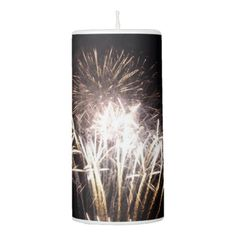 White and Gold Fireworks I Pillar Candle