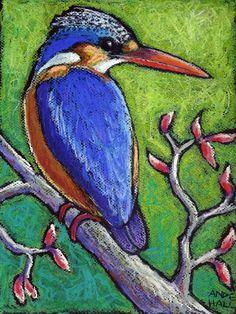 9x12 Original Bird Painting - Oil Pastel - Malachite Kingfisher Portrait - Not a Print - bird art -