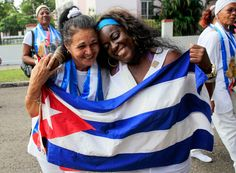 The recently released dissidents Aide Gallardo, left, and Sonia Garro during a march in Havana on January 11th.