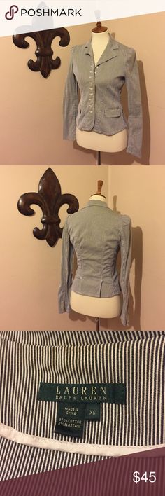 LAUREN Ralph Lauren Striped Blazer Perfect for business casual or a day to day activities! Classic Ralph Lauren nautical fitted style with pearlescent buttons. The material is has a slight stretch to it. Lauren Ralph Lauren Jackets & Coats Blazers