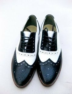 Free shipping - Handmade black and white  cow leather oxford shoes-
