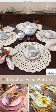Crochet Placemat Patterns, Crochet Coaster Pattern, Crochet Dishcloths, Free Doily Patterns, Crochet Table Mat, Crochet Tablecloth, Lace Doilies, Crochet Doilies, Shabby Style