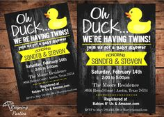 Rubber Duck Baby Shower Invitation - Twins Baby Shower - Triplets Baby Shower - Digital on Etsy, $20.00