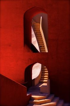 """""""Walking through geometry,"""" a photo by Miffy O'Hara, shows a detail from the historic Jantar Mantar observatory in the city of Jaipur in Rajasthan, India. Built in the by a Moghul prince, Jantar Mantar is now listed as a national monument. Architecture Design, Amazing Architecture, Stairs Architecture, India Architecture, Installation Architecture, Geometry Architecture, Fashion Architecture, Gothic Architecture, Futuristic Architecture"""