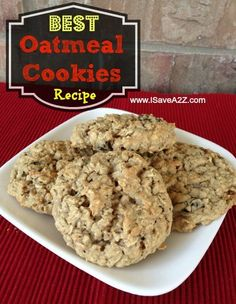 Best ever chewy Oatmeal Cookies! Just made these gluten and egg free by substituting GF flour in equal amount and using flax seed meal/water in place of eggs. Also used GF/lactose free butter. So yummy!