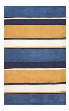 The American Home Rug Company Beach Ocean Stripes Sunny Blues Rug