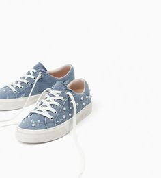 Image 2 of DENIM PLIMSOLLS WITH FAUX PEARLS from Zara
