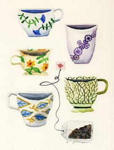 A Collection of Tea Cups by J. C. Phillipps