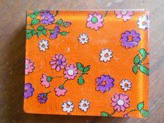 1960's Orange Floral Compact w/Powder Puff by JoJosAbFabStuff, $7.50