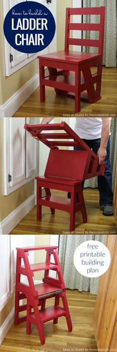 Build this multi-functional DIY ladder chair, which looks like an ordinary dining chair but easily folds into a sturdy step-stool for multipurpose use. Originally invented by Benjamin Franklin, this modern ladder chair has an updated classic style. Perfect for a small space or tiny home. Full tutorial and building plan. #ChairClassic