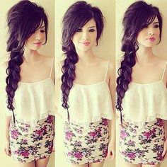 1. Pouf 2. Half pony tail with bobby pins 3. Braid 4. Stretch, pull, and tug on braid Messy side braid