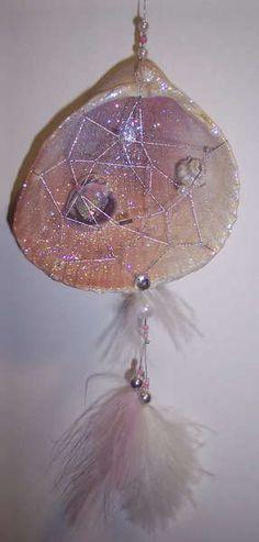 Dream Catchers with Shells | Sea shell dream catcher christmas ornament