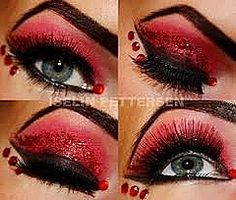 """Bold red and black eye shadow with red glitter and crystals. aptly titled """"The Devil"""". I Actually really like this Red & Black makeup with a hit of glitter but you have to do some falsie eyelashes to set it off Halloween Eye Makeup, Maquillaje Halloween, Halloween Eyes, Black Makeup, Makeup For Green Eyes, Love Makeup, Quotes Glitter, Eyelash Extensions London, Regard Intense"""