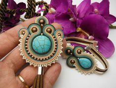 Hand-made soutache jewellery. by Soutacheria Soutache Pendant, Soutache Necklace, Fashion Jewelry, Rainbow, Trending Outfits, Unique Jewelry, Board, Handmade Gifts, Etsy