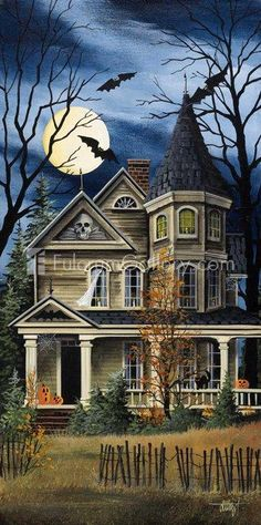 Giclee Print: Spooky Yellow House by Debbi Wetzel : Halloween Scene, Halloween Painting, Halloween Prints, Halloween Home Decor, Halloween Pictures, Halloween Horror, Spooky Halloween, Halloween Themes, Vintage Halloween