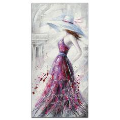FEMME Tableau Figuratif vertical Rose Acrylique 50x100