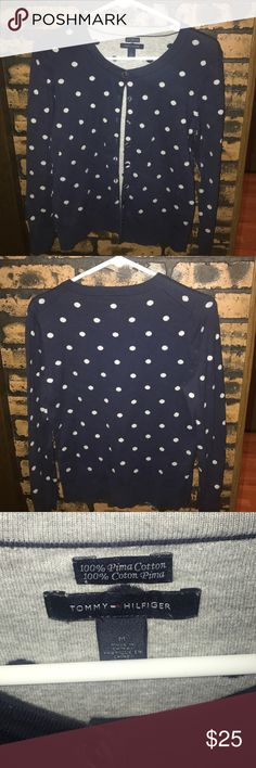 Tommy Hilfiger Polka a Dot Sweater Tommy Hilfiger Navy Blue & Gray Polka a Dot Sweater Tommy Hilfiger Sweaters Cardigans