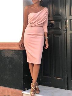 Solid One Sleeve Ruched Bodycon Dress - Women's style: Patterns of sustainability Elegant Dresses, Sexy Dresses, Beautiful Dresses, Casual Dresses, Short Dresses, Fashion Dresses, Formal Dresses, Dresses Dresses, Summer Dresses