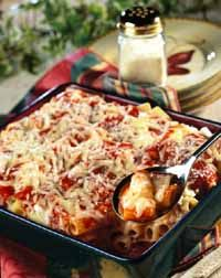 1package (16 ounces) uncooked rigatoni or penne pasta  1container (15 ounces) ricotta cheese  2/3cup grated Parmesan cheese  2eggs, lightly beaten  1/2teaspoon salt  1/8teaspoon black pepper  2jars (26 ounces each) marinara sauce, divided  3cups (12 ounces) shredded mozzarella cheese, divided