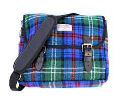 Blue and Red Tartan Harris Tweed Messenger Bag With Leather Straps and Buckles to fasten Dimensions x Cowl Neck Hoodie, Baggy Hoodie, Harris Tweed, Cute Shirts, Bag Making, Tartan, Messenger Bag, Diaper Bag, Satchel