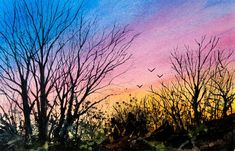Tanglewood V, Watercolor Print, Sunset Sky, Silhouette, Trees, Birds, Blue, Orange, Pink