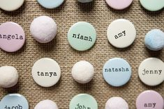 If you have a lot of wedding guests, make sure you break the ice by handing out name badges. We love these pretty personalised badges from Wedding in a Teacup which come in traditional sugared almond shades and cost just Wedding Favors Cheap, Personalized Wedding Favors, Wedding Favours, Wedding Cakes, Wedding Gifts, Bachelorette Party Playlist, Alternative Wedding Inspiration, Personalised Badges, Chevron Paper