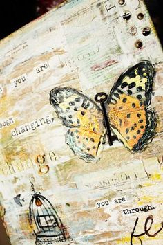 butterfly mixed media canvas by Christy Tomlinson