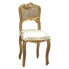 Reims Side Chair, Gold/Stripe