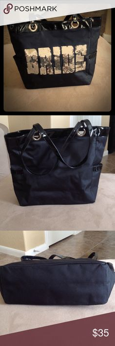FLASH SALE $35! Sequin Bride Tote New without tags. Never used. Black canvas tote with silver sequins and patent leather trim and handles. External side pocket on each side. Fully lined. Magnetic center closure. Bags Totes