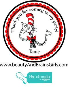 The Cat and The Hat Dr. Seuss Custom Personalized Stickers Birthday Party Favors - Treat Tag Toppers- 24 Stickers Popular Size 2.5 Inches. Peel and Stick Backing from Custom Party Favors, Handmade Craft , and Educational Products https://www.amazon.com/dp/B01EPBVQES/ref=hnd_sw_r_pi_dp_QMZHxbAWE8ZVQ #handmadeatamazon