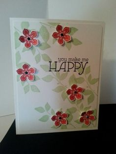 Lovely - leaf cluster image stamped and flowers stamped & popped up (any occasion card)
